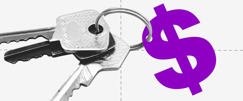 Un par de llaves enganchadas a un dibujo del símbolo pesos en color morado.