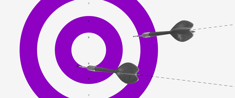 Ilustración de target morado con blanco representa la audiencia a la que se dirige Nubank