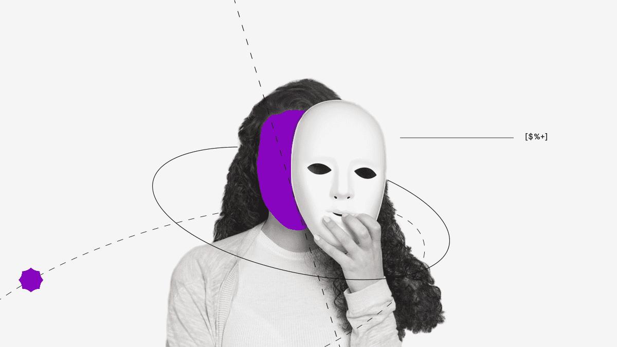 ciberfraude representado por mujer con máscara