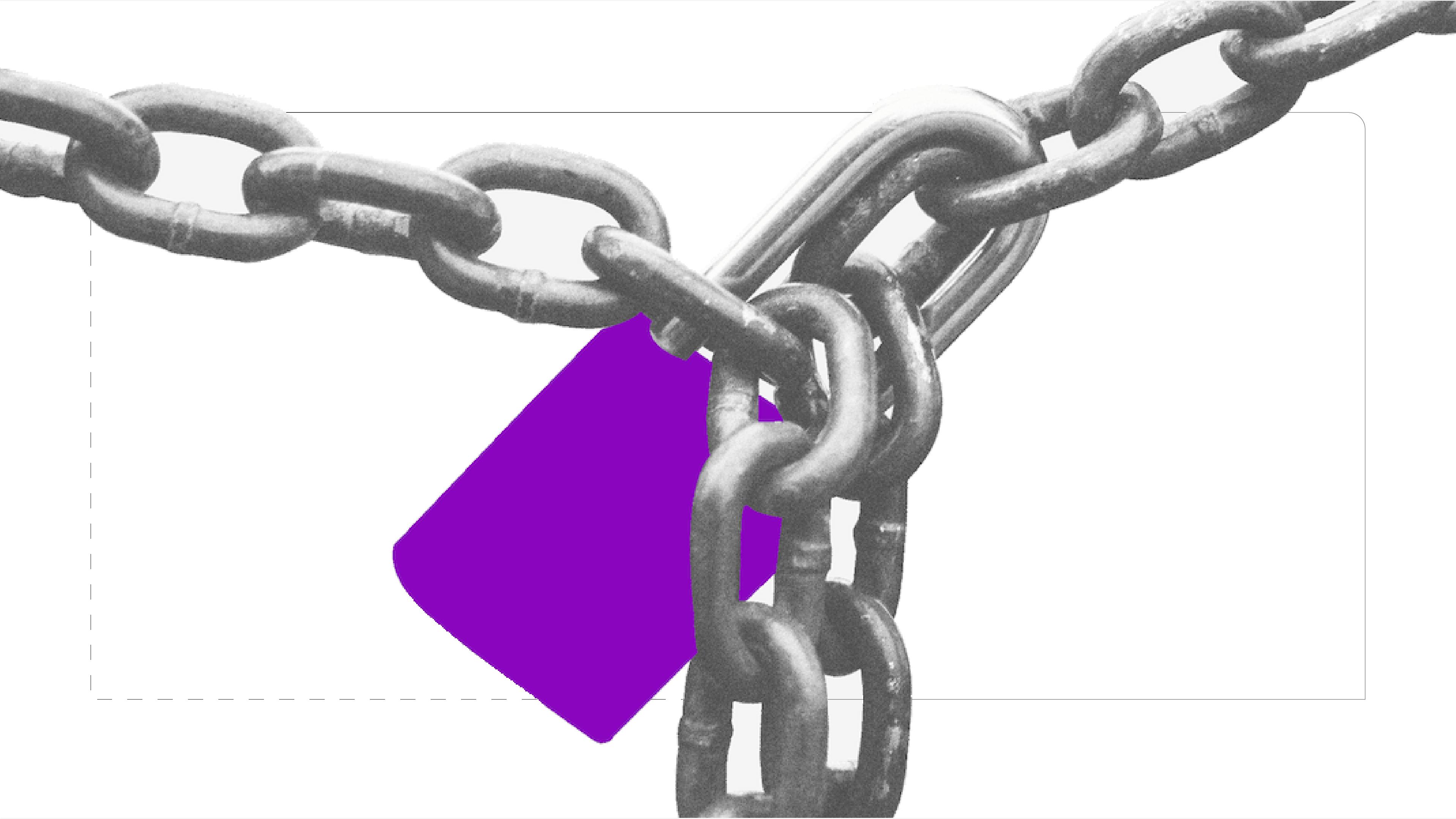 Cadena y candado morado advierten sobre Ransomware y seguridad en línea