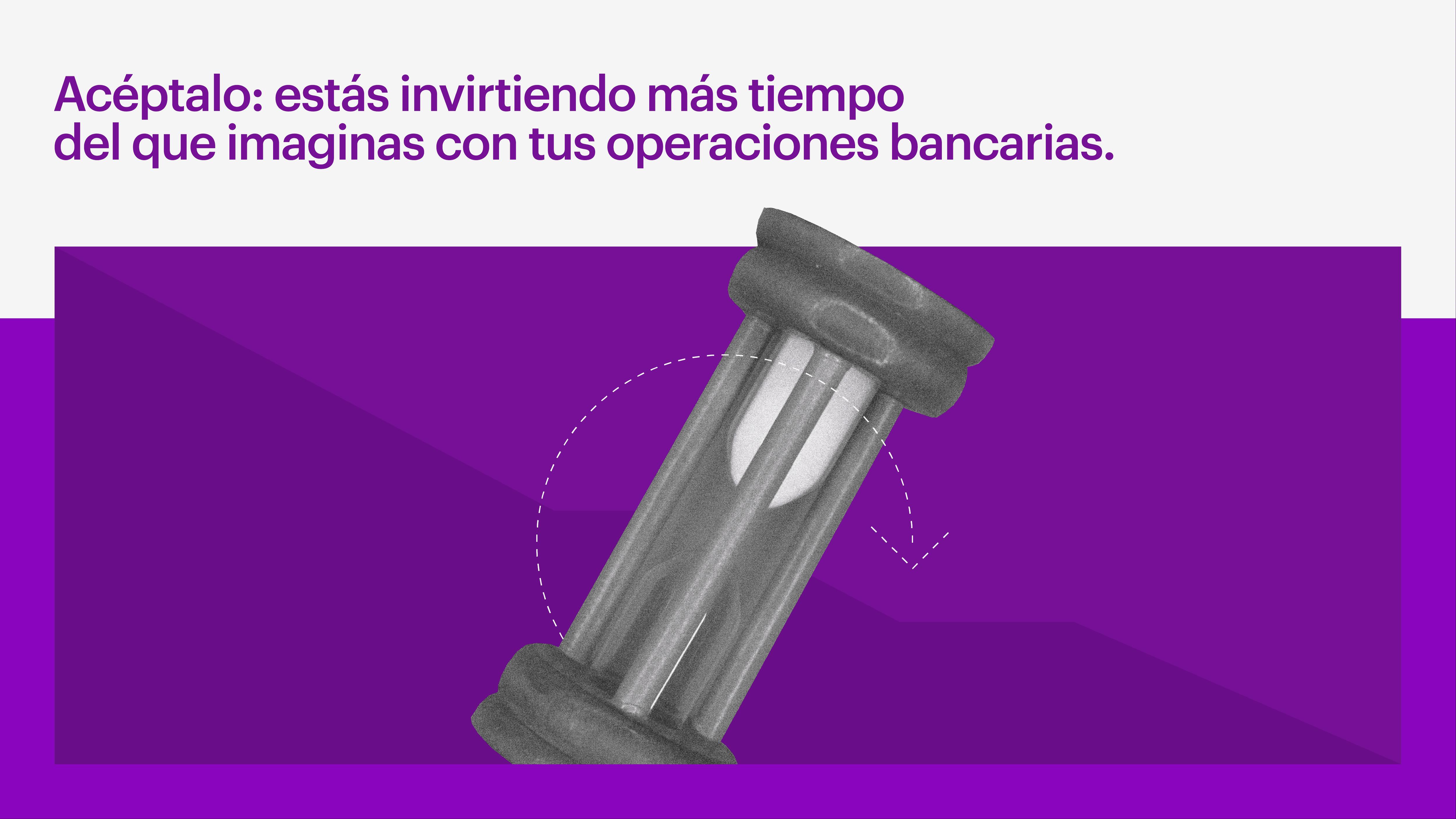 Reloj de arena suspendido evidencia la perdida de tiempo en sucursales bancarias