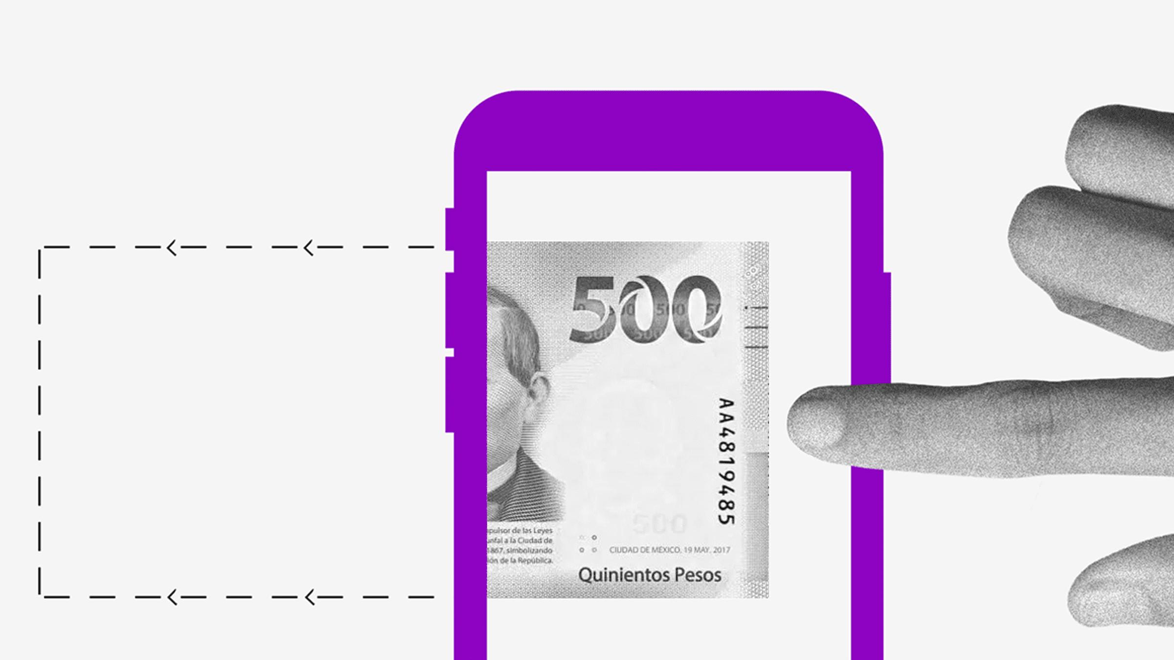 Dedo tocando pantalla de teléfono celular con un billete da a conocer planes de financiamiento Nu México